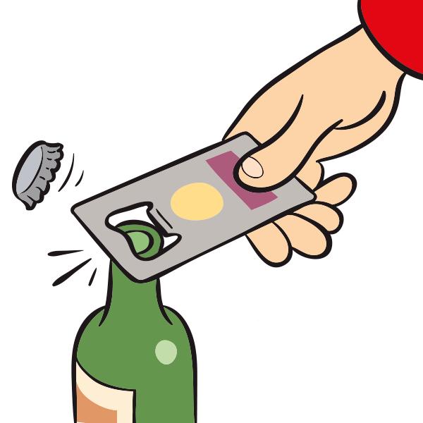 Credit card size bottle opener