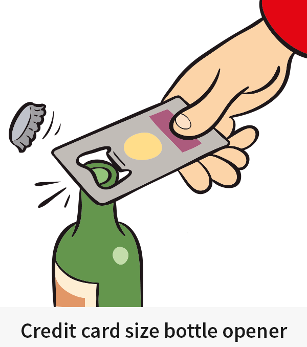 Credit card size bottle opener